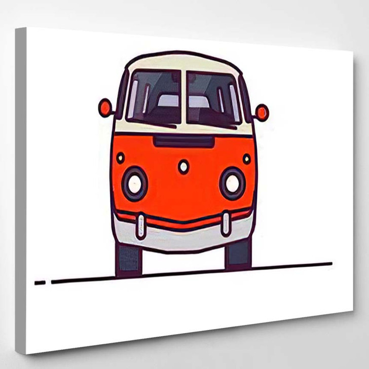 Old Style Two Colors Minivan Front - Hippies Canvas Wall Decor