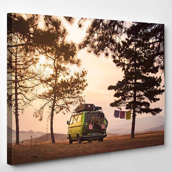 Old Timer Camper Van Parked On 1 - Hippies Canvas Wall Decor