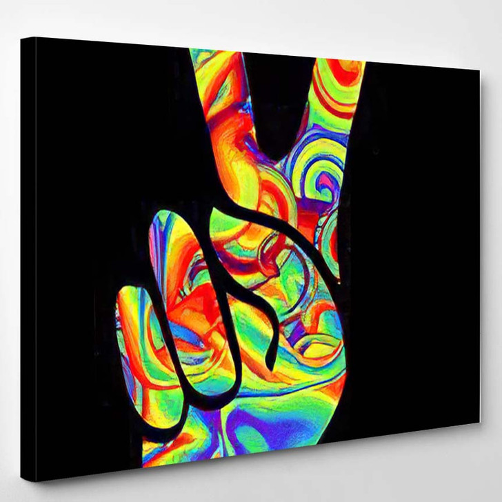 Pacific Symbol Hippie Two Thumbs Retro - Hippies Canvas Wall Decor