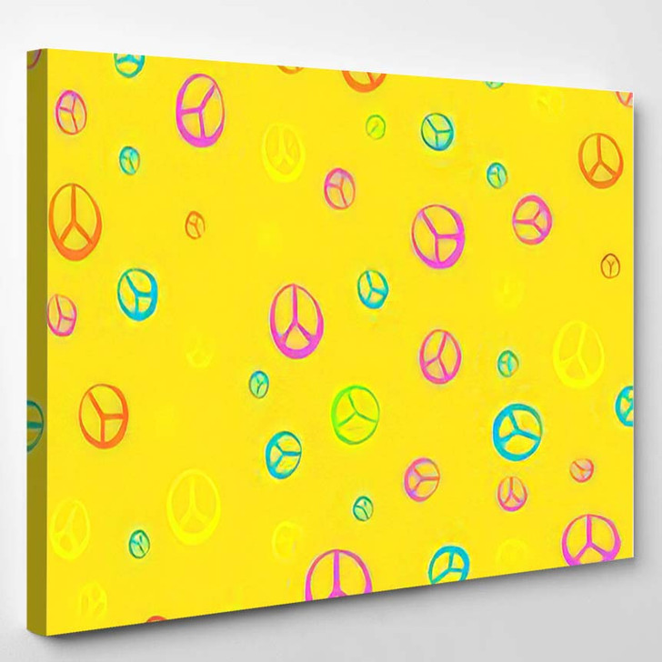 Pattern Style Hippie 60S 70S Psychedelic - Hippies Canvas Wall Decor