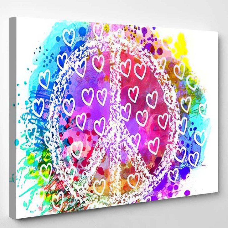 Peace Hippie Symbol Over Colorful Background - Hippies Canvas Wall Decor