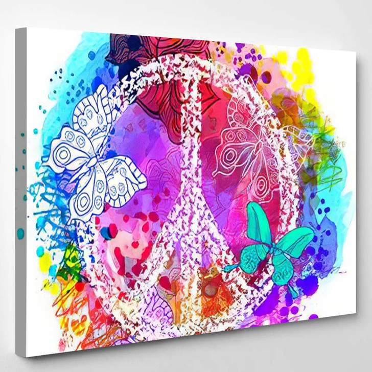 Peace Hippie Symbol Over Colorful Background 2 - Hippies Canvas Wall Decor