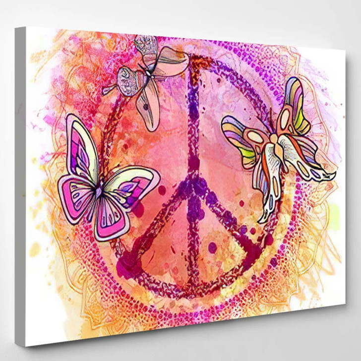 Peace Hippie Symbol Over Colorful Background 3 - Hippies Canvas Wall Decor