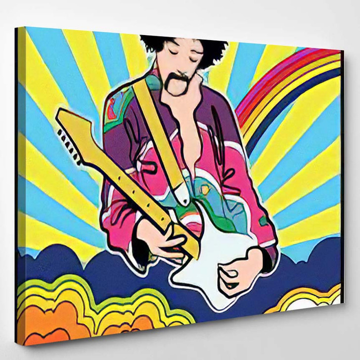 Psychedelic Art Poster Guitar Player Vintage - Hippies Canvas Wall Decor