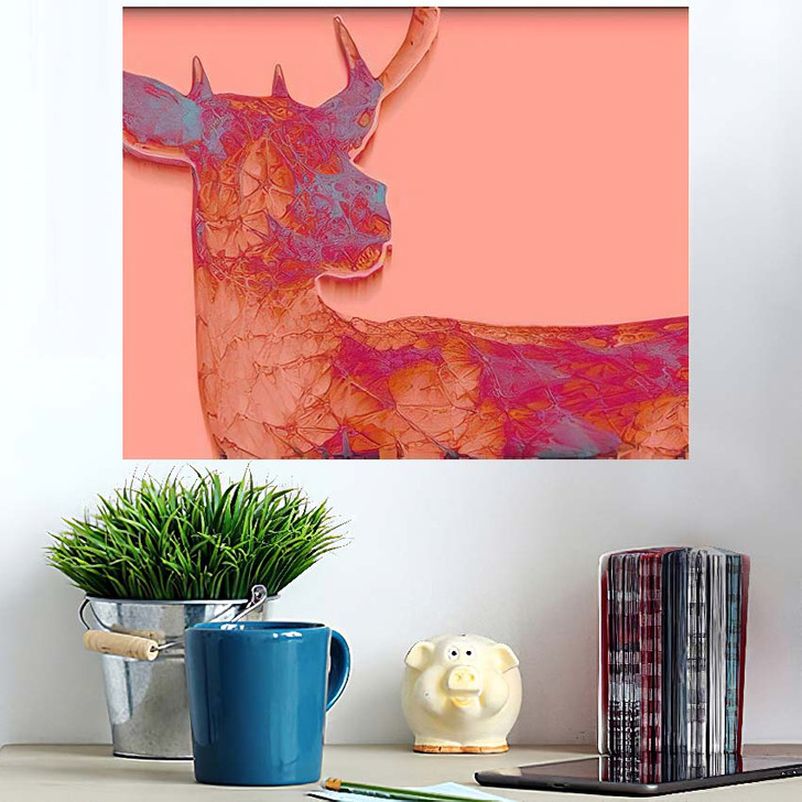 3D Render Abstract Illustration Deer Unusual - Deer Animals Wall Art Poster