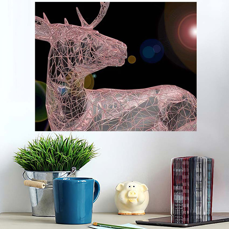 3D Render Abstract Illustration Unusual Blurry - Deer Animals Wall Art Poster