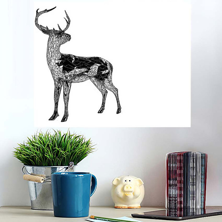 3D Render Unusual Deer Illustration Lines - Deer Animals Wall Art Poster