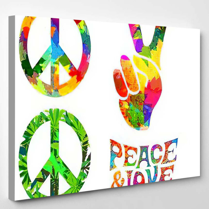 Set Pacific Hippie Symbol Words Pease - Hippies Canvas Wall Decor