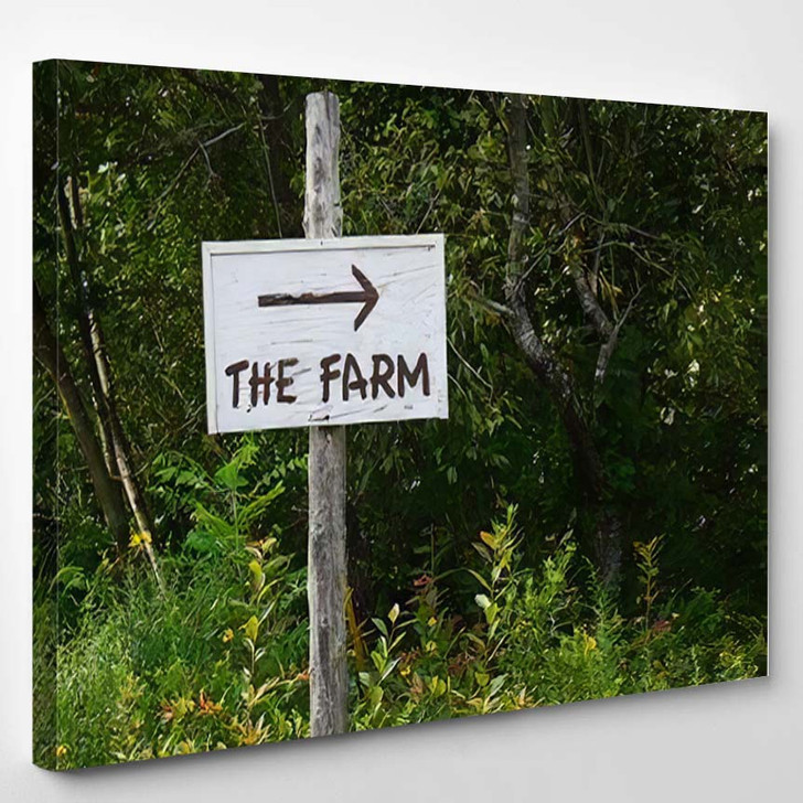 Sign Points Way Farm One Oldest - Hippies Canvas Wall Decor
