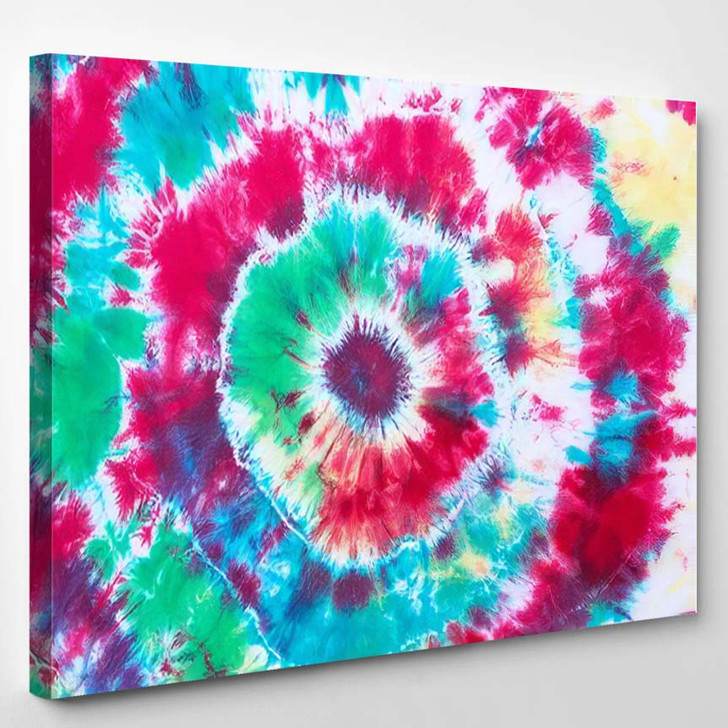 Tie Dye Pattern Hand Dyed On 1 - Hippies Canvas Wall Decor