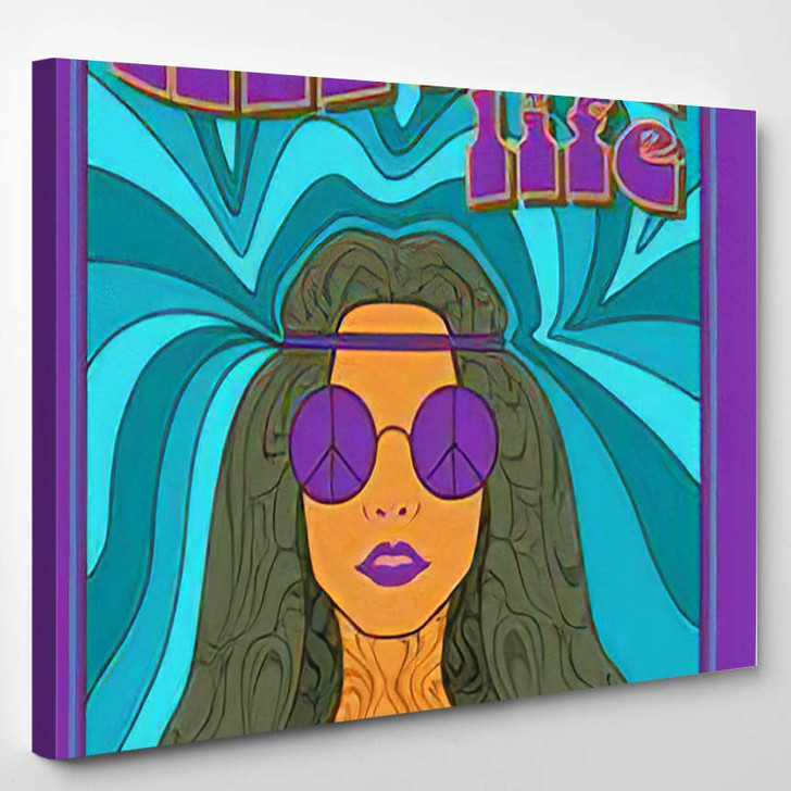 Vector Hippy Style Poster - Hippies Canvas Wall Decor