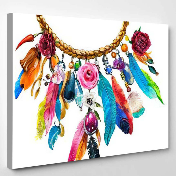 Watercolor Illustration Floral Necklace Feathers - Hippies Canvas Wall Decor