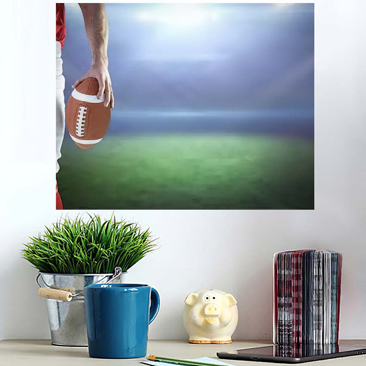 3D American Football Player Holding Against - Football Wall Art Poster