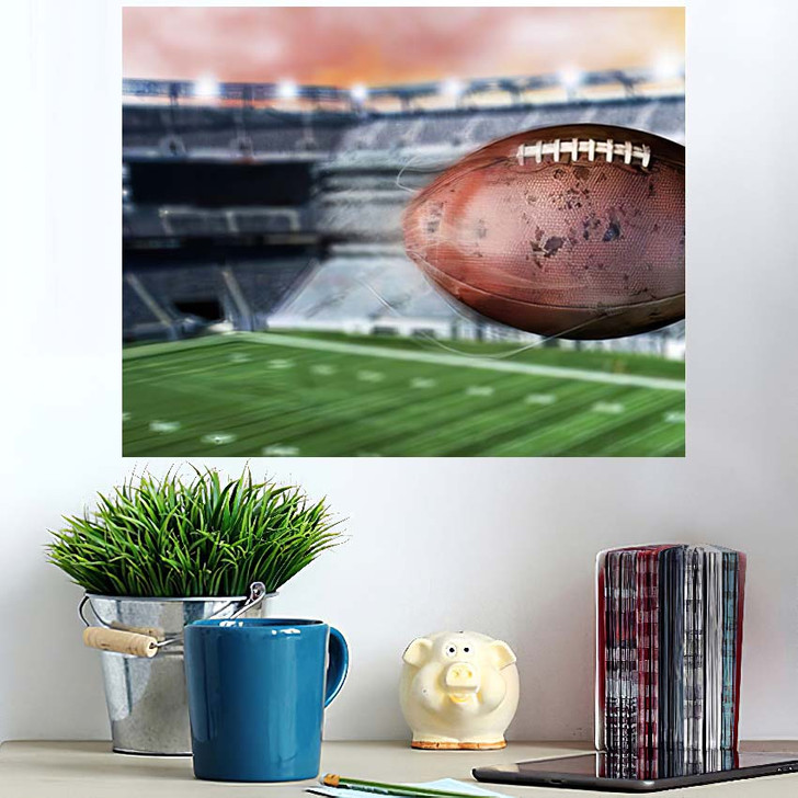 3D Illustration Flying American Football Leaving - Football Wall Art Poster