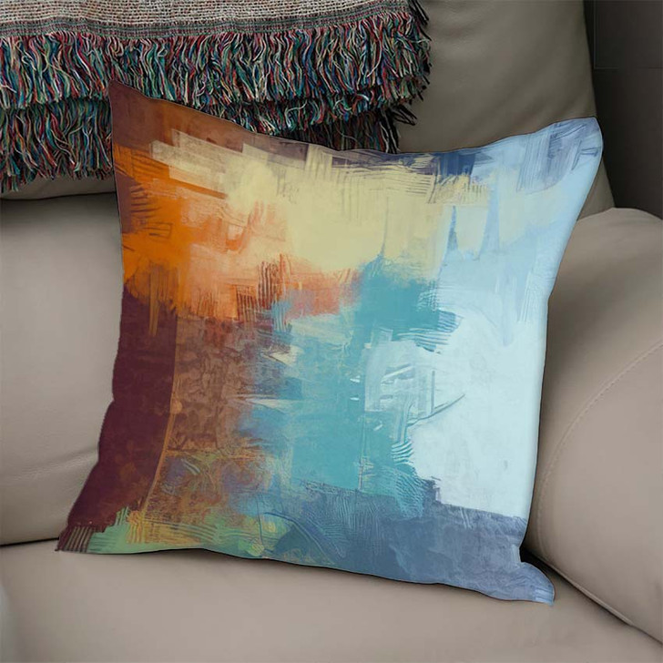 2D Illustration Contemporary Art Hand Made 1 - Abstract Art Linen Throw Pillow