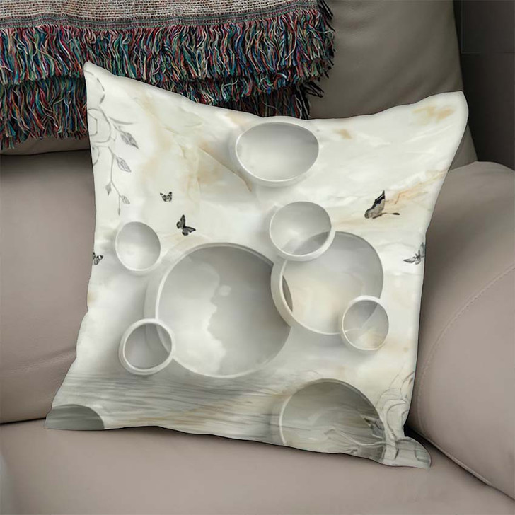3D Marble Circle Illustration Background Rendering - Abstract Art Linen Throw Pillow