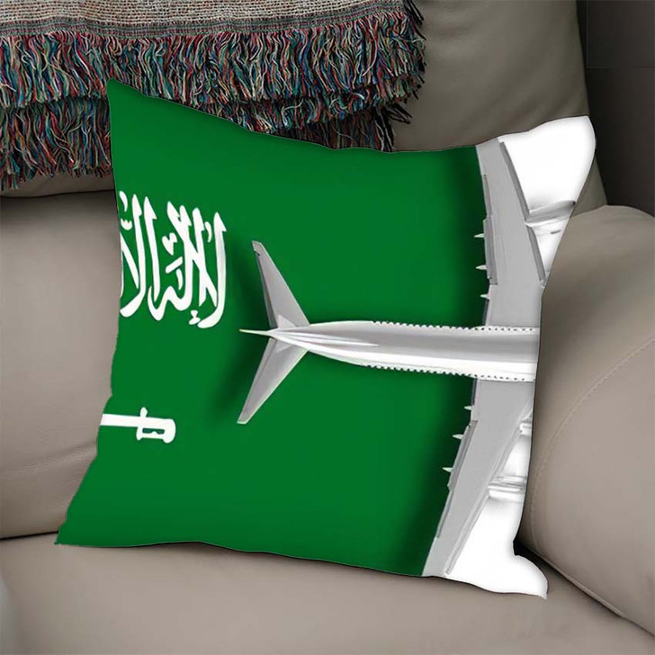 3D Flag Saudi Arabia Airplane Flying - Airplane Airport Linen Throw Pillow