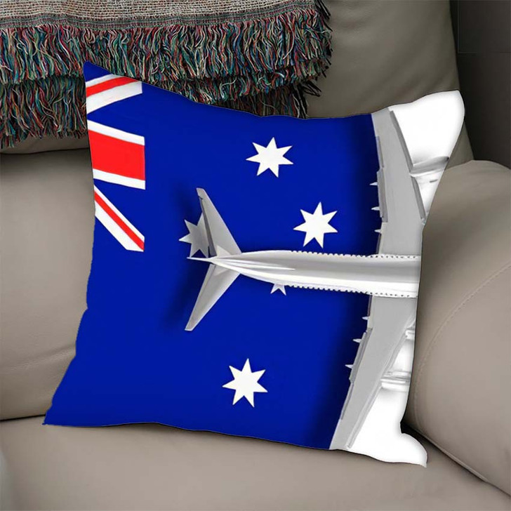 3D Illustration Flag Australia Airplane Flying - Airplane Airport Linen Throw Pillow