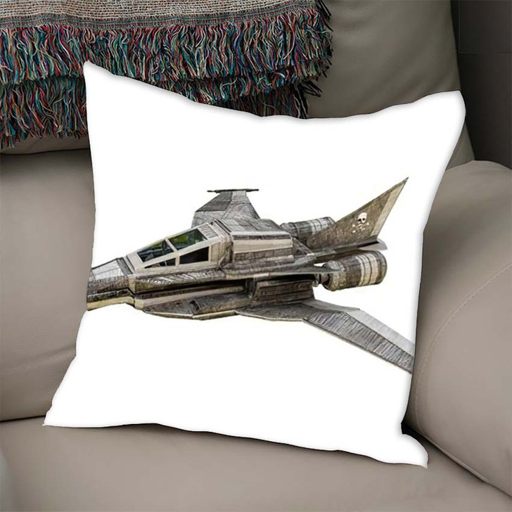 3D Illustration Spaceship Fighter Isolated On - Airplane Airport Linen Throw Pillow