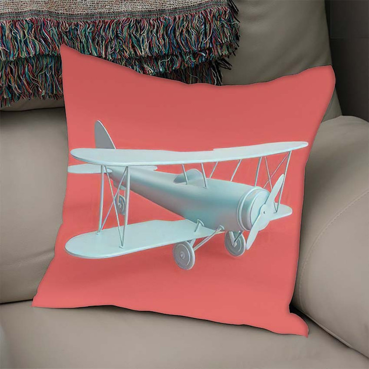 3D Render Illustration Retro Biplane Modern - Airplane Airport Linen Throw Pillow