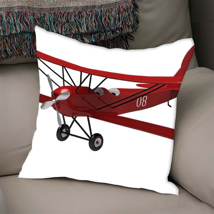 3D Render Model Ancient Plane On - Airplane Airport Linen Throw Pillow