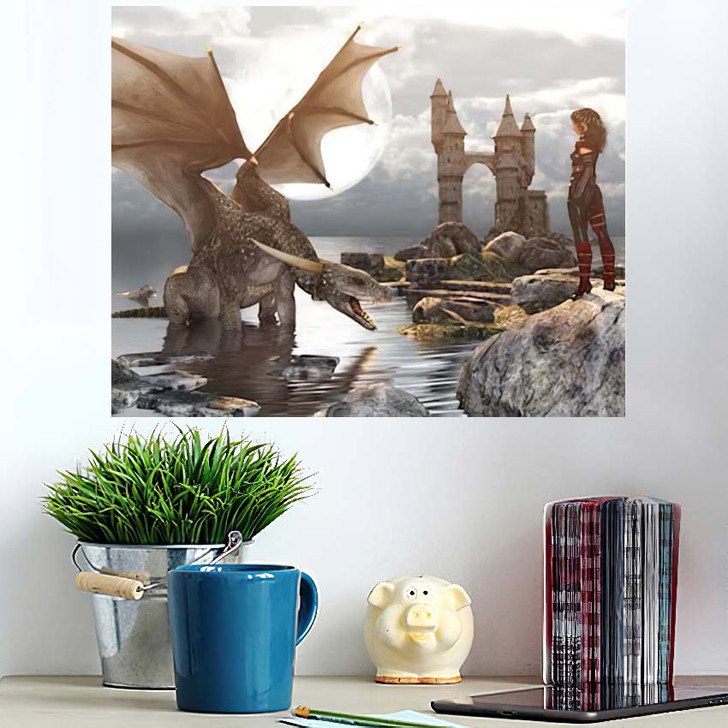 3D Fantasy Dragon Resting On Water - Dragon Animals Wall Art Poster