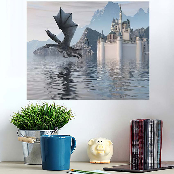 3D Illustration Castle On Water Dragon - Dragon Animals Wall Art Poster