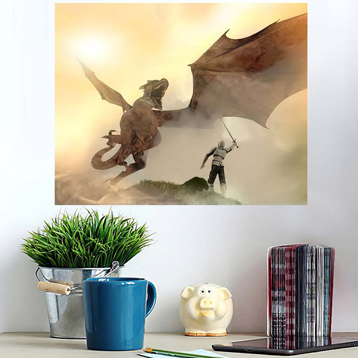 3D Illustration Knight Fighting Dragon Versus 1 - Dragon Animals Wall Art Poster