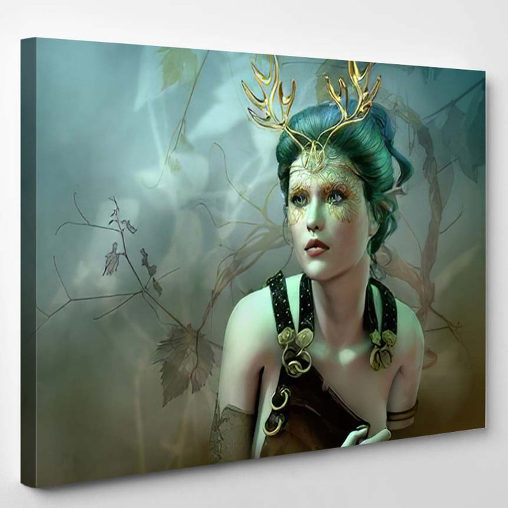 3D Computer Graphics Girl Golden Antlers - Fantasy Canvas Wall Decor