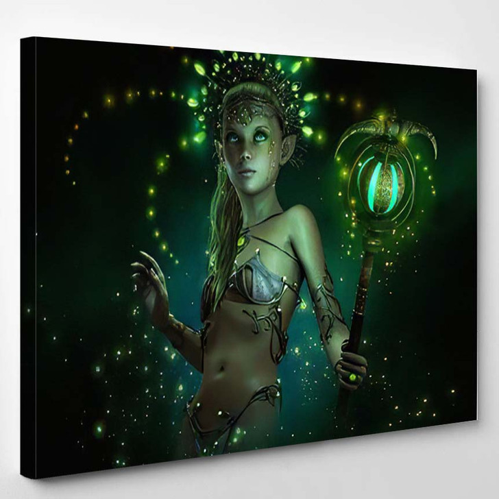 3D Computer Graphics Little Fairy Illuminated - Fantasy Canvas Wall Decor