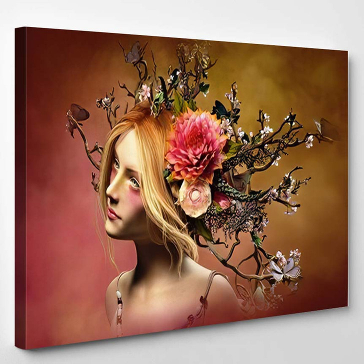 3D Computer Graphics Portrait Girl Headdress - Fantasy Canvas Wall Decor
