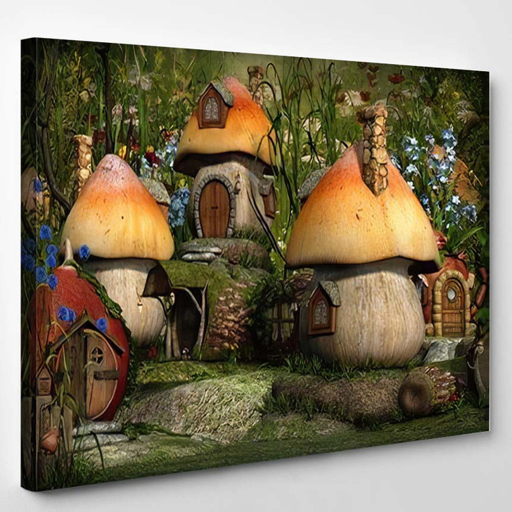 3D Computer Graphics Village Leprechaun Cottages - Fantasy Canvas Wall Decor