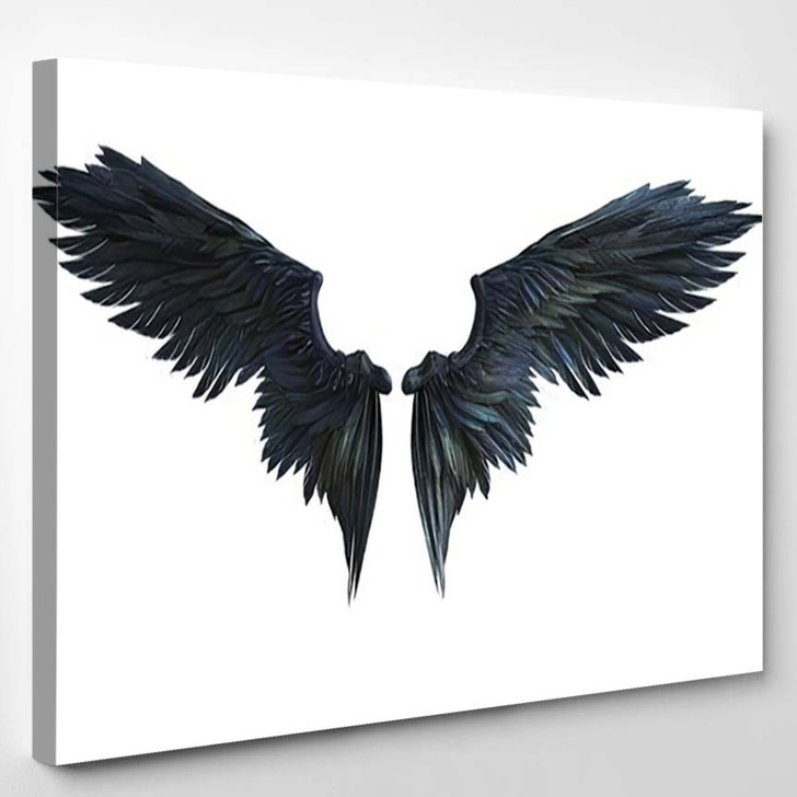 3D Illustration Demon Wings Black Wing - Fantasy Canvas Wall Decor