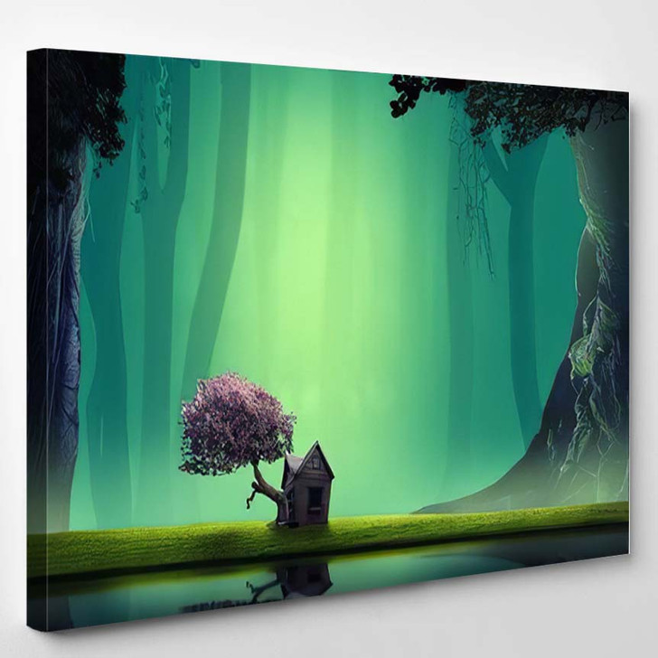 3D Illustration House Lakeside Forest Fantasy - Fantasy Canvas Wall Decor