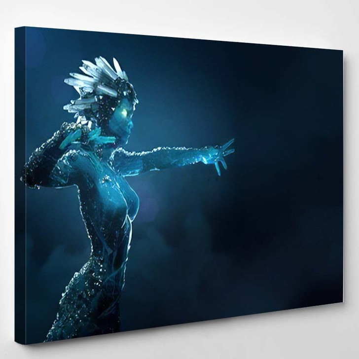 3D Illustration Render Stone Girl Glowing - Fantasy Canvas Wall Decor