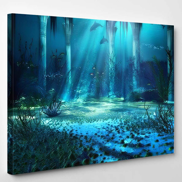 3D Illustration Rendered Underwater Fantasy Landscape - Fantasy Canvas Wall Decor