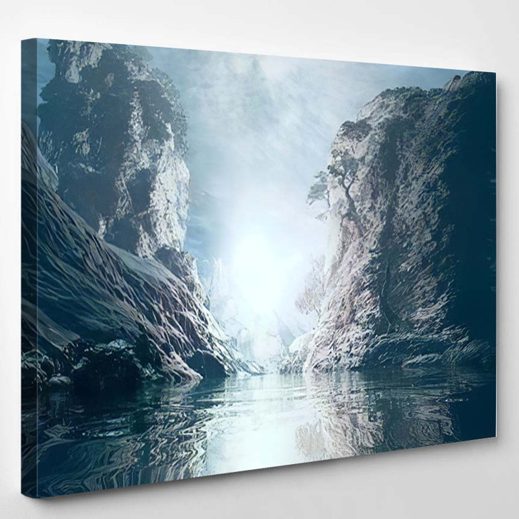 3D Landscape Illustration Where Observed Two - Fantasy Canvas Wall Decor