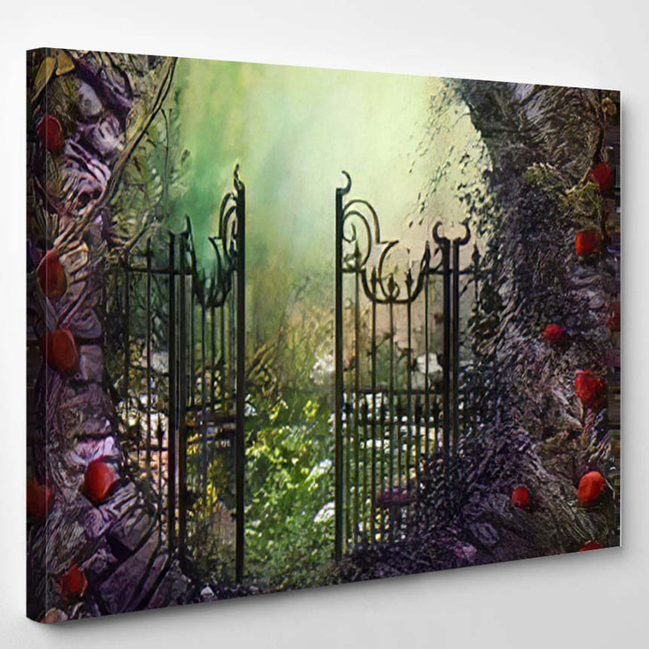 3D Render Illustration Magical Old Gate - Fantasy Canvas Wall Decor