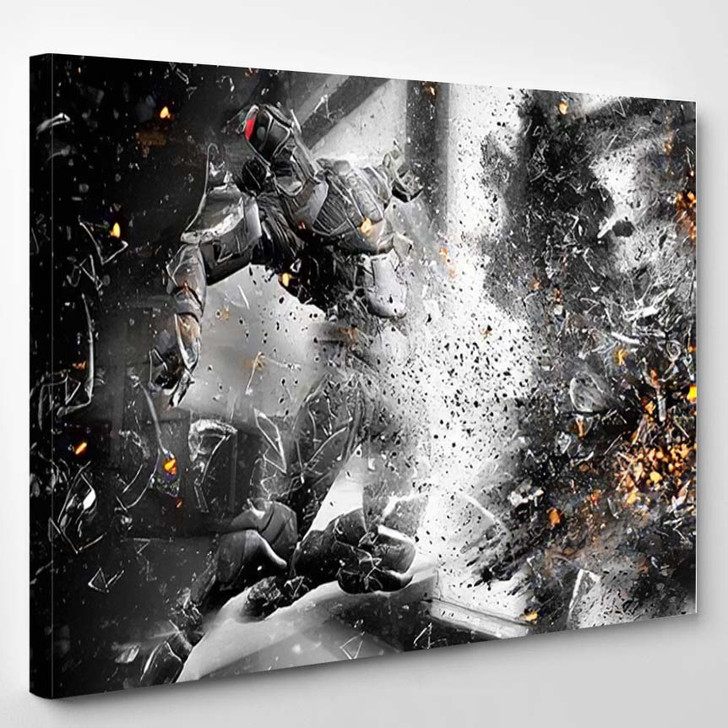 3D Science Fiction Soldier Blown Away - Fantasy Canvas Wall Decor