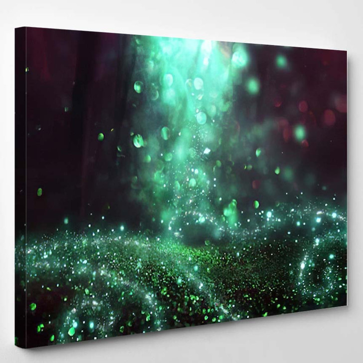 Abstract Magical Image Glitter Firefly Flying 1 - Fantasy Canvas Wall Decor