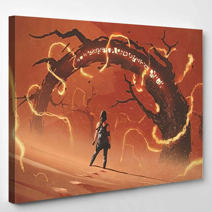 Adventure Scene Showing Young Woman Standing - Fantasy Canvas Wall Decor