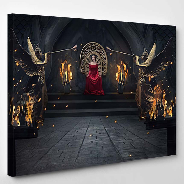 Beautiful Brunette Majestic Woman Red Luxuious - Fantasy Canvas Wall Decor