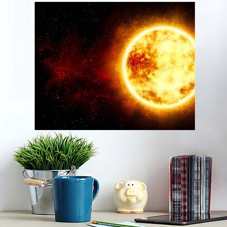 3D Illustration Sun Star Cosmic Cloud - Sky and Space Wall Art Poster