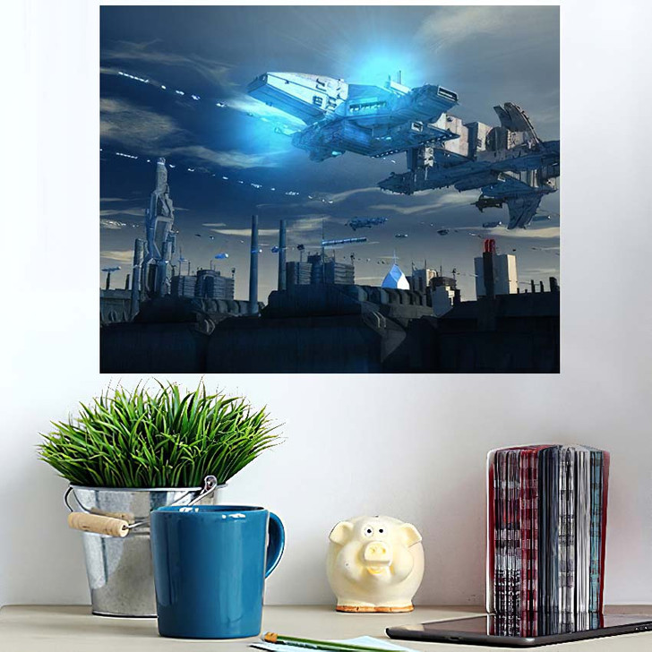 3D Render Futuristic Spaceship Ufo - Sky and Space Wall Art Poster