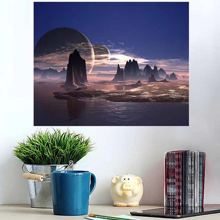 3D Rendered Fantasy Alien Planet - Sky and Space Wall Art Poster