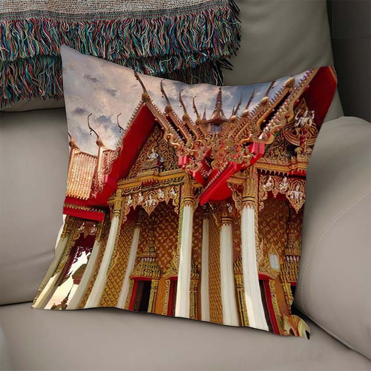 102 Thailand Kanchanaburi Tiger Cave Temple 1 - Buddha Religion Linen Throw Pillow