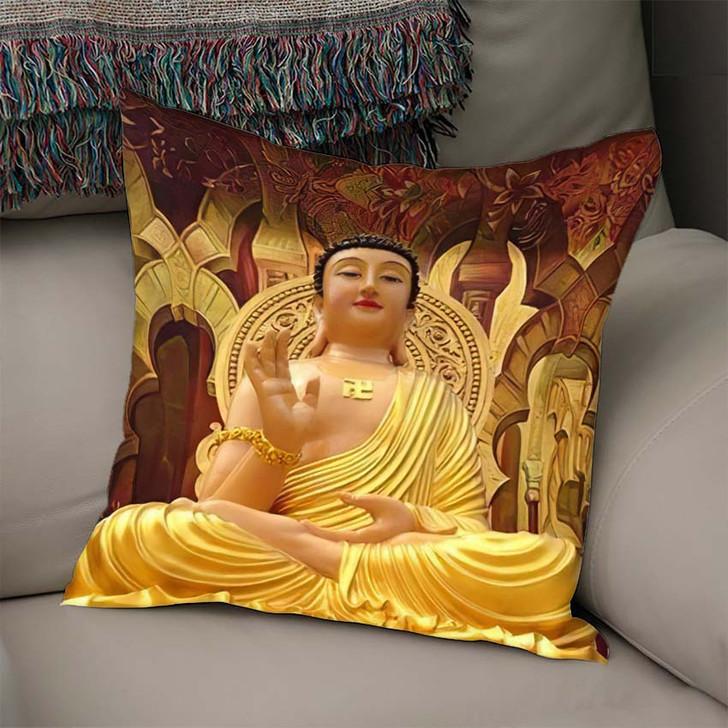 3D Artwork Buddha Giving Blessings Painting - Buddha Religion Linen Throw Pillow