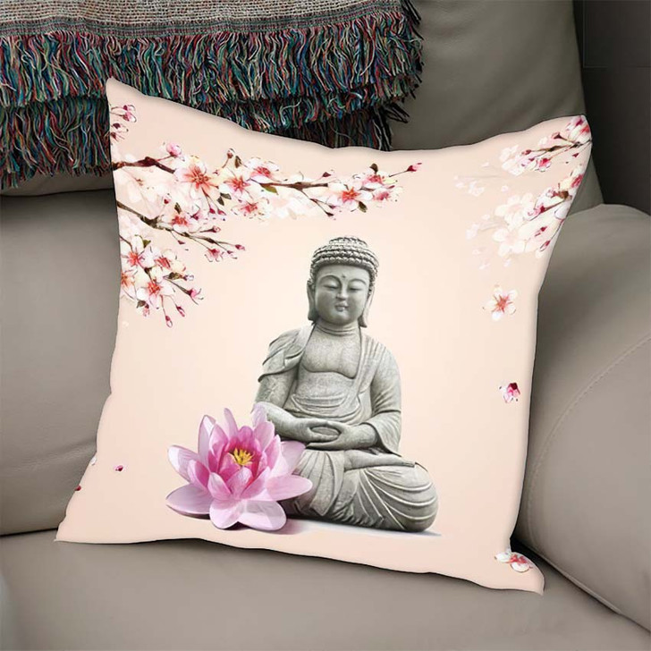3D Illustration Buddha Wallpaper3D - Buddha Religion Linen Throw Pillow