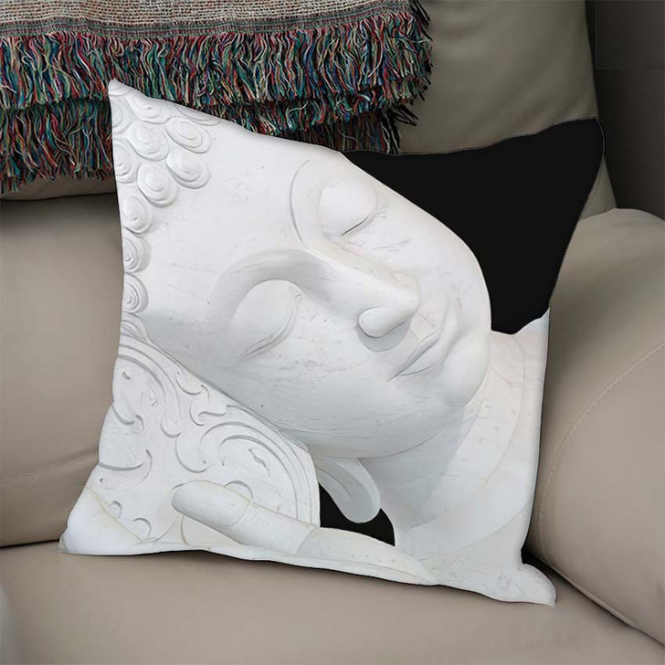 3D Illustration Thai Style Sleeping White - Buddha Religion Linen Throw Pillow