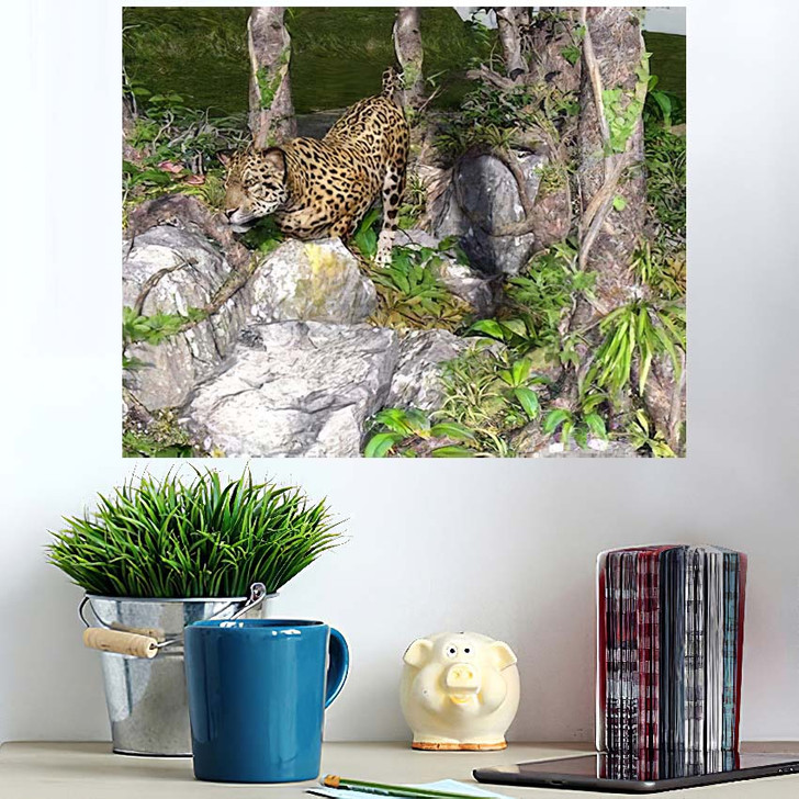 3D Artwork Leopard Hunting Wild - Hunting and Fishing Wall Art Poster